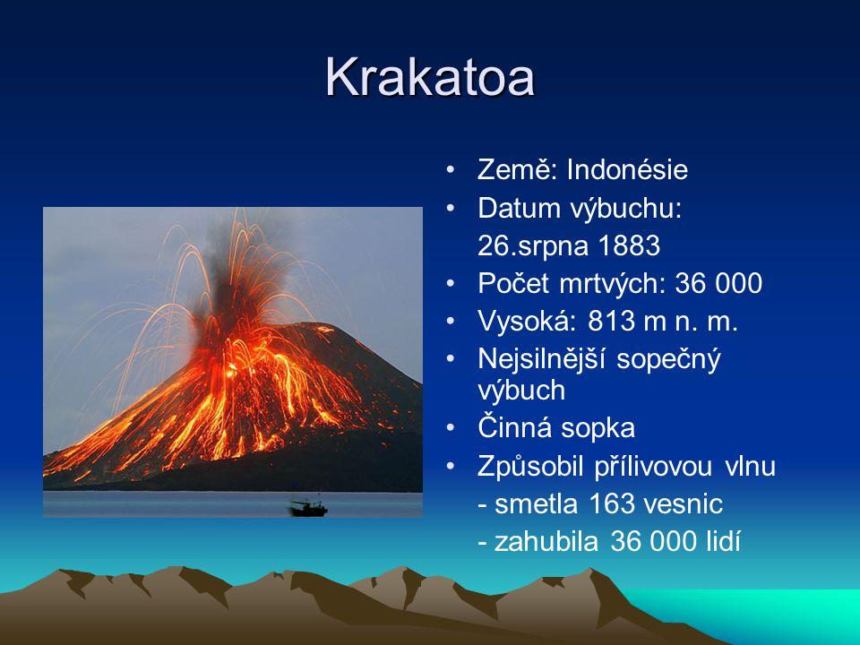 Krakatoa Země: Indonésie Datum výbuchu: 26.srpna 1883