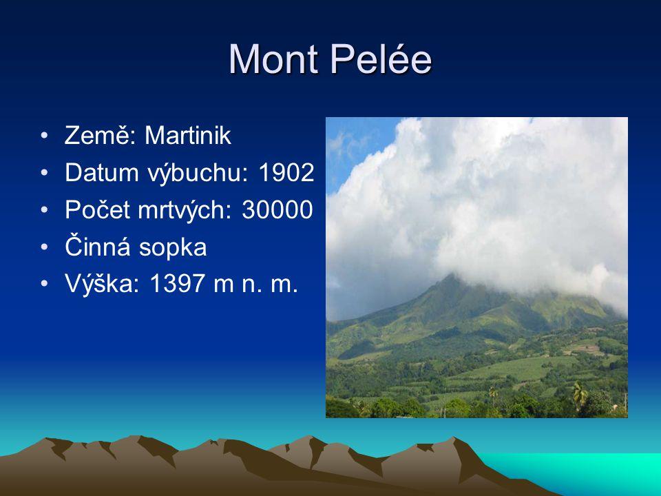 Mont Pelée Země: Martinik Datum výbuchu: 1902 Počet mrtvých: 30000