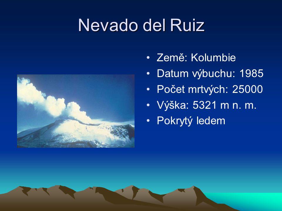 Nevado del Ruiz Země: Kolumbie Datum výbuchu: 1985