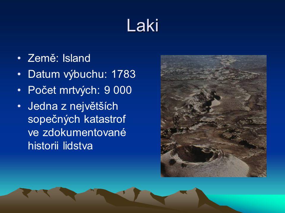 Laki Země: Island Datum výbuchu: 1783 Počet mrtvých: 9 000