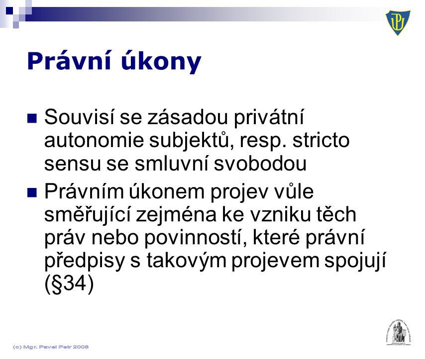 Právní úkony Souvisí se zásadou privátní autonomie subjektů, resp. stricto sensu se smluvní svobodou.
