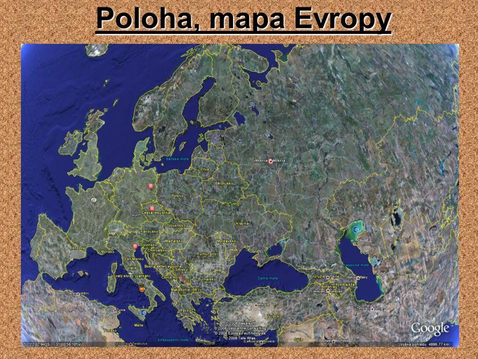 Poloha, mapa Evropy