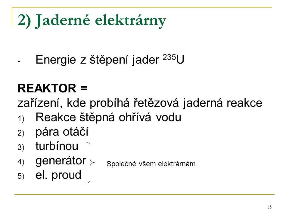 2) Jaderné elektrárny Energie z štěpení jader 235U REAKTOR =