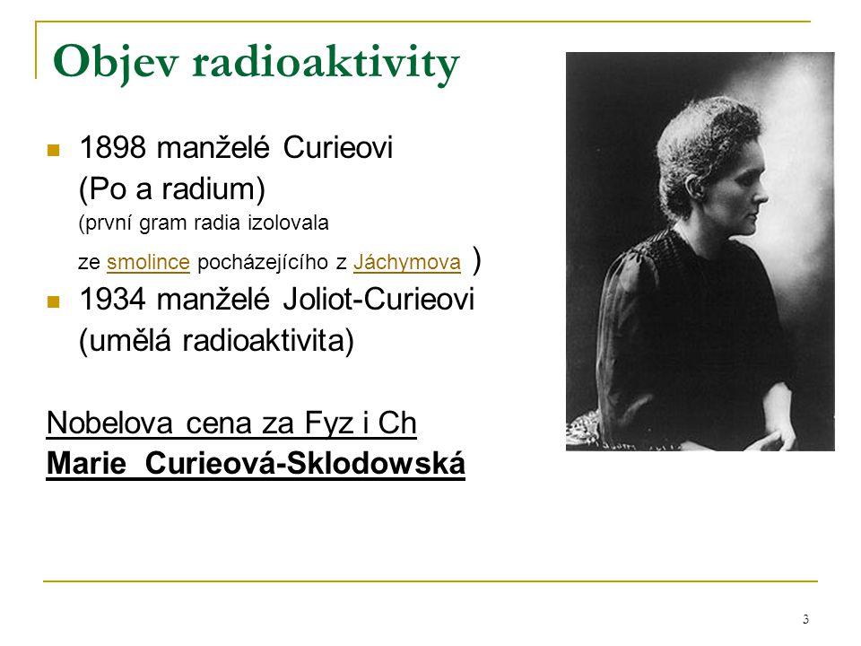 Objev radioaktivity 1898 manželé Curieovi (Po a radium)