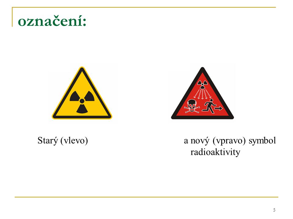 Starý (vlevo) a nový (vpravo) symbol radioaktivity