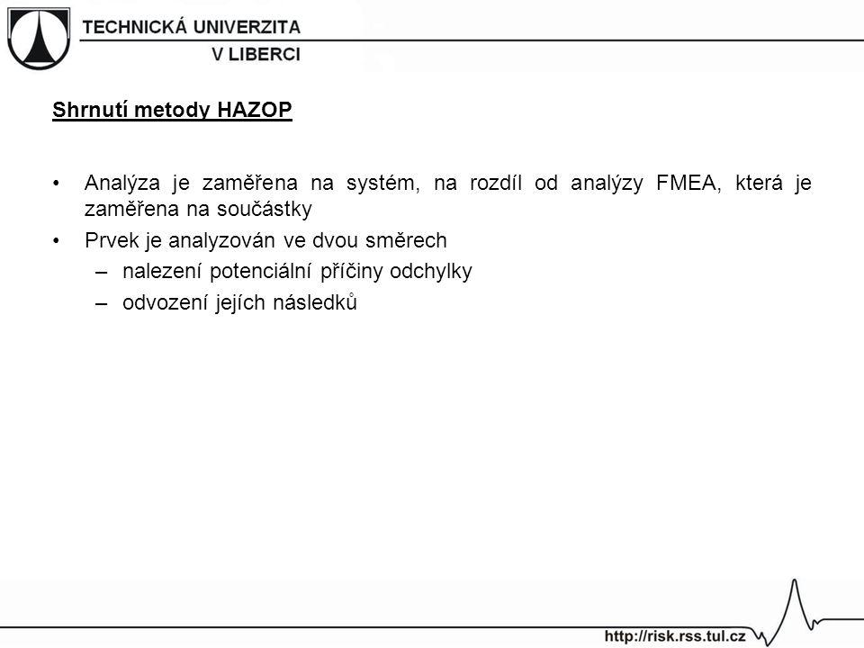 Shrnutí metody HAZOP Analýza je zaměřena na systém, na rozdíl od analýzy FMEA, která je zaměřena na součástky.