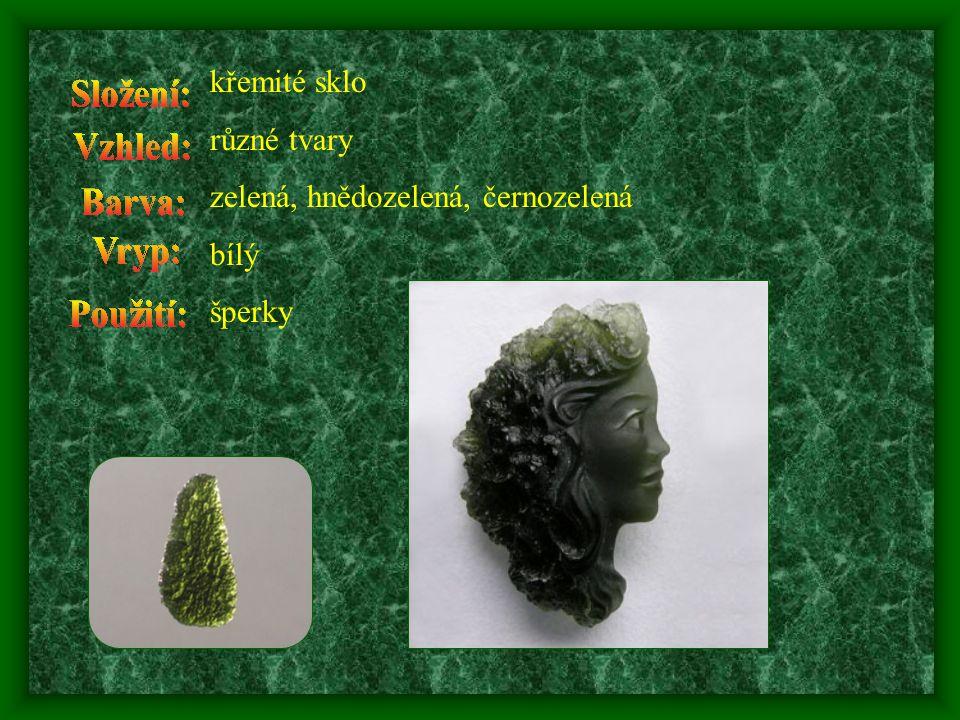 křemité sklo různé tvary zelená, hnědozelená, černozelená bílý šperky