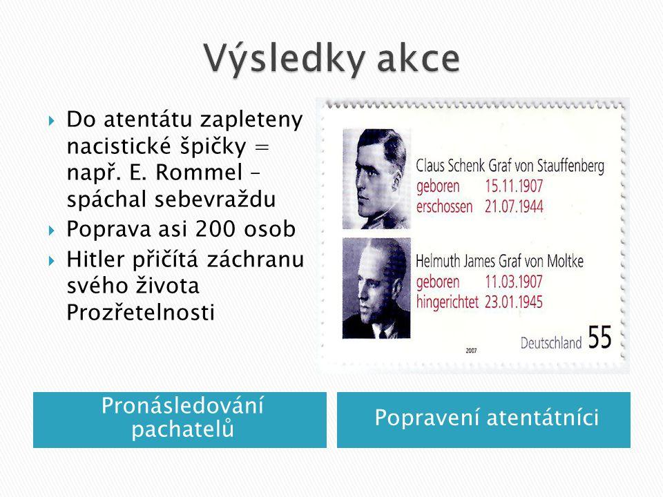 Výsledky akce Do atentátu zapleteny nacistické špičky = např. E. Rommel – spáchal sebevraždu. Poprava asi 200 osob.