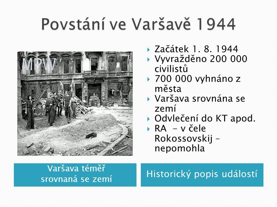 Povstání ve Varšavě 1944 Začátek 1. 8. 1944