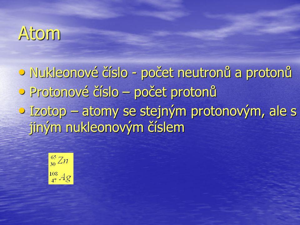 Atom Nukleonové číslo - počet neutronů a protonů
