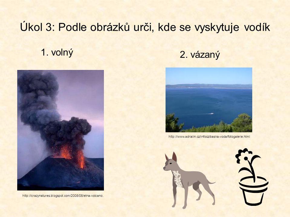 Úkol 3: Podle obrázků urči, kde se vyskytuje vodík