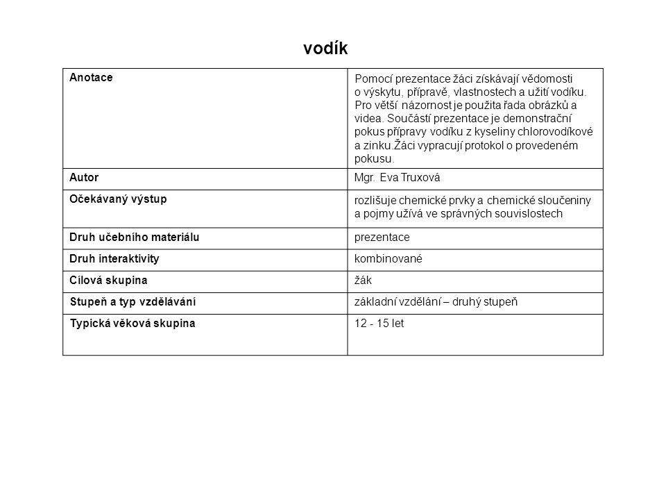 vodík Anotace.