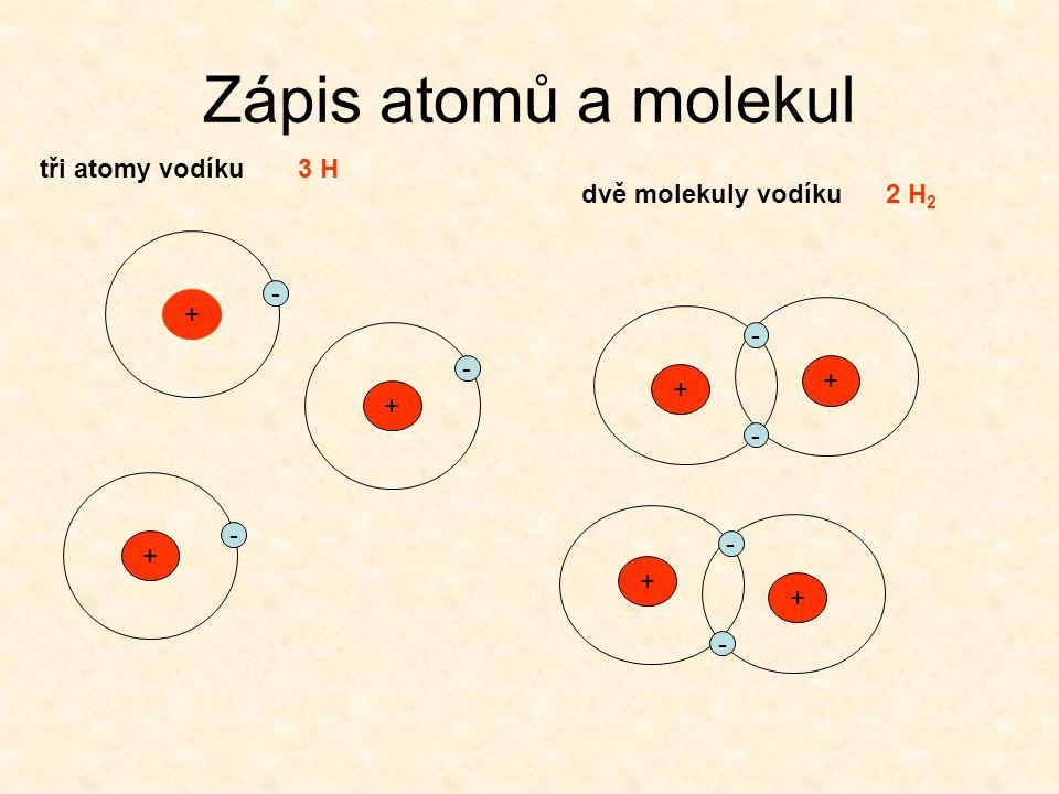 Zápis atomů a molekul tři atomy vodíku 3 H dvě molekuly vodíku 2 H2 -