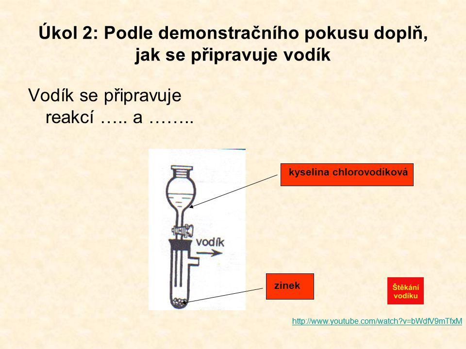 Úkol 2: Podle demonstračního pokusu doplň, jak se připravuje vodík