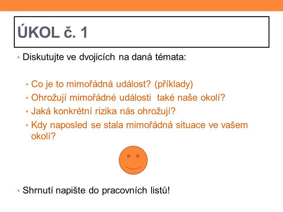 ÚKOL č. 1 Diskutujte ve dvojicích na daná témata:
