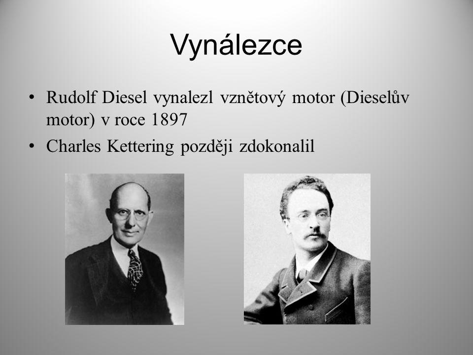 Vynálezce Rudolf Diesel vynalezl vznětový motor (Dieselův motor) v roce 1897.