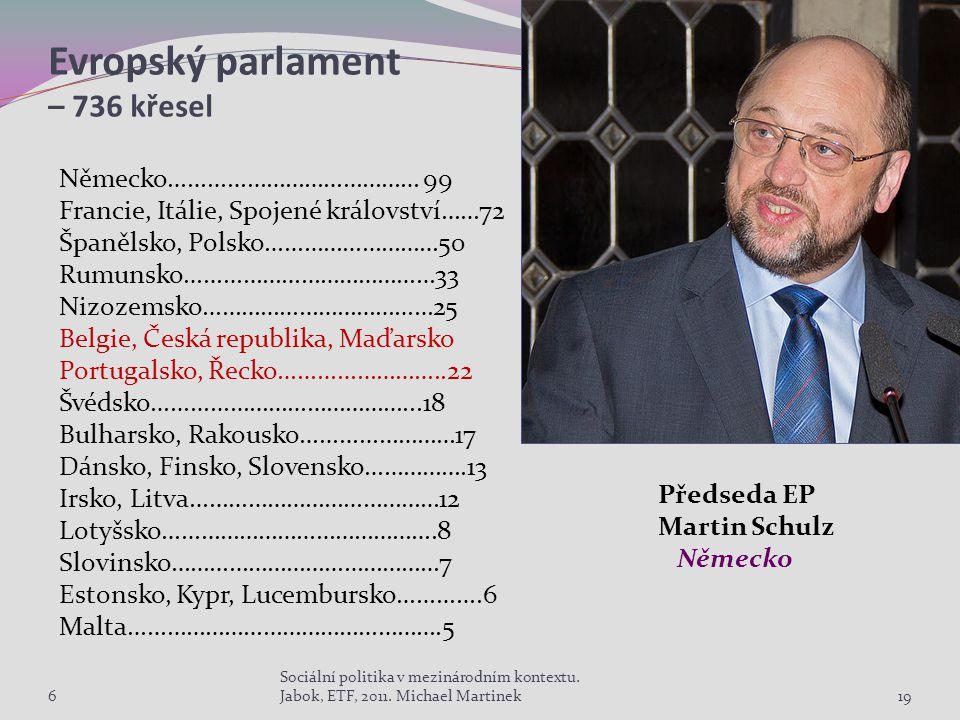 Evropský parlament – 736 křesel