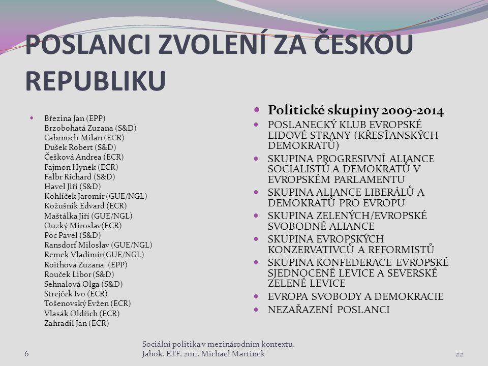 POSLANCI ZVOLENÍ ZA ČESKOU REPUBLIKU