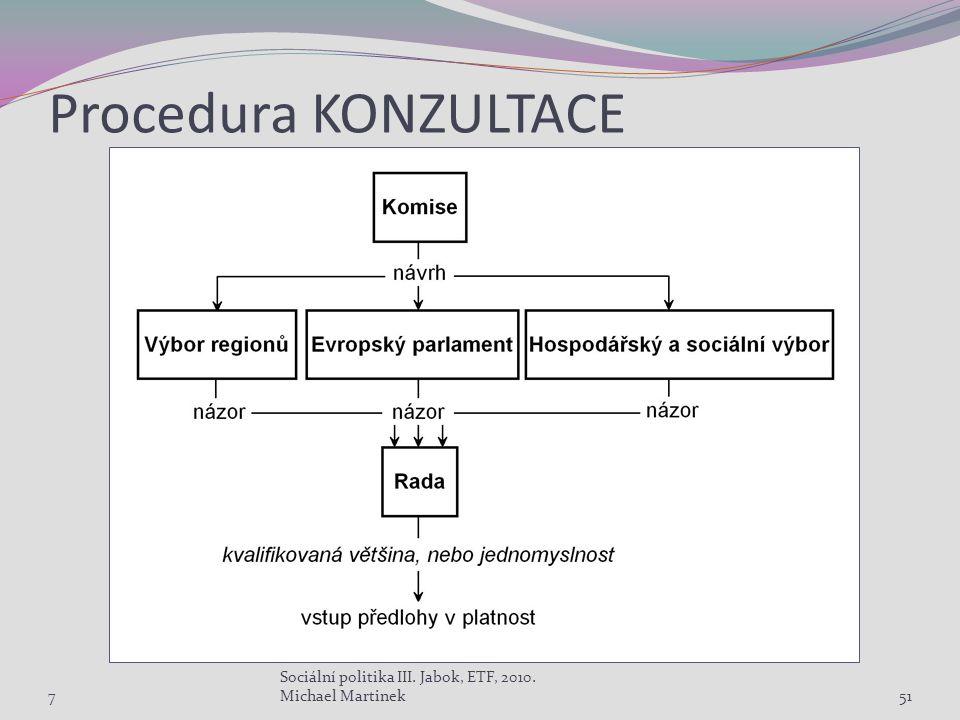 Procedura KONZULTACE 7 Sociální politika III. Jabok, ETF, 2010. Michael Martinek