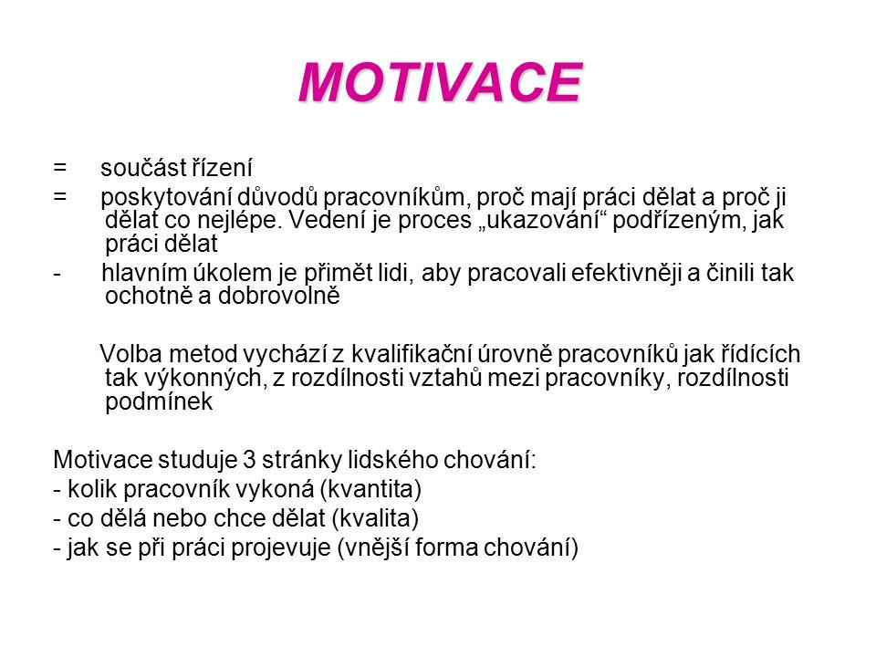 MOTIVACE = součást řízení