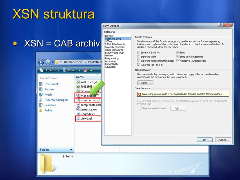XSN struktura XSN = CAB archiv
