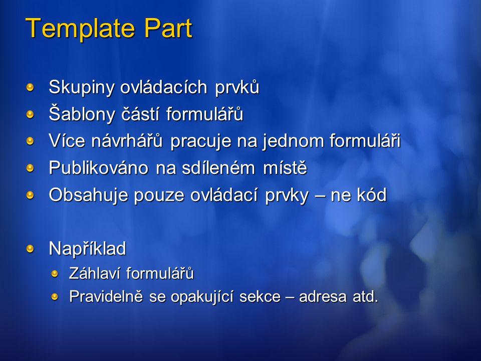 Template Part Skupiny ovládacích prvků Šablony částí formulářů