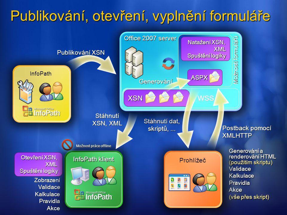 Publikování, otevření, vyplnění formuláře