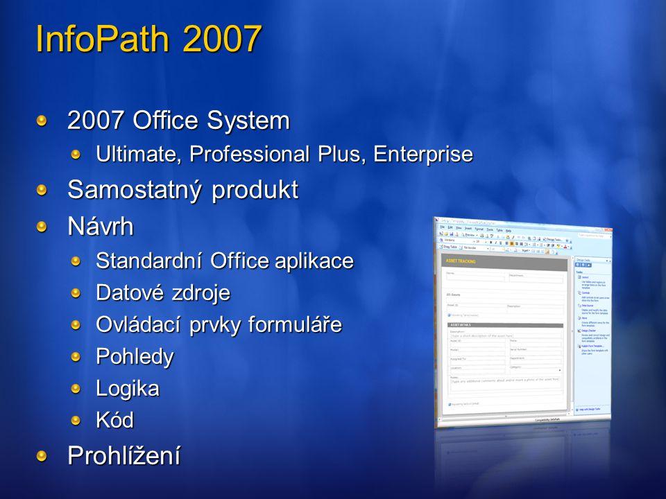 InfoPath 2007 2007 Office System Samostatný produkt Návrh Prohlížení