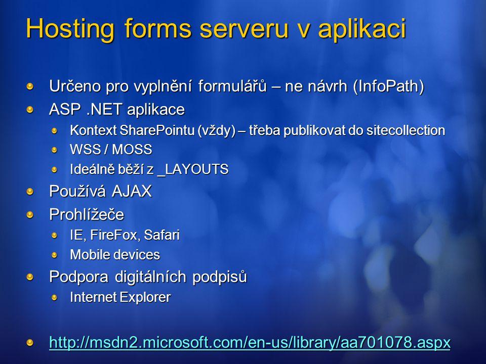 Hosting forms serveru v aplikaci