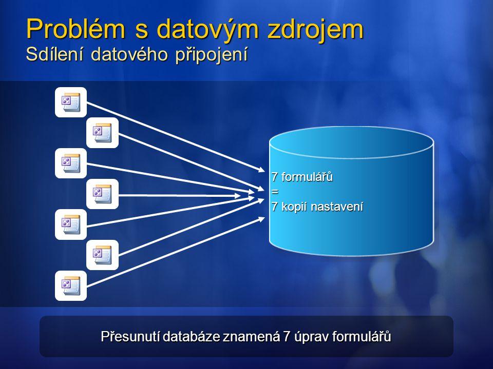 Problém s datovým zdrojem Sdílení datového připojení