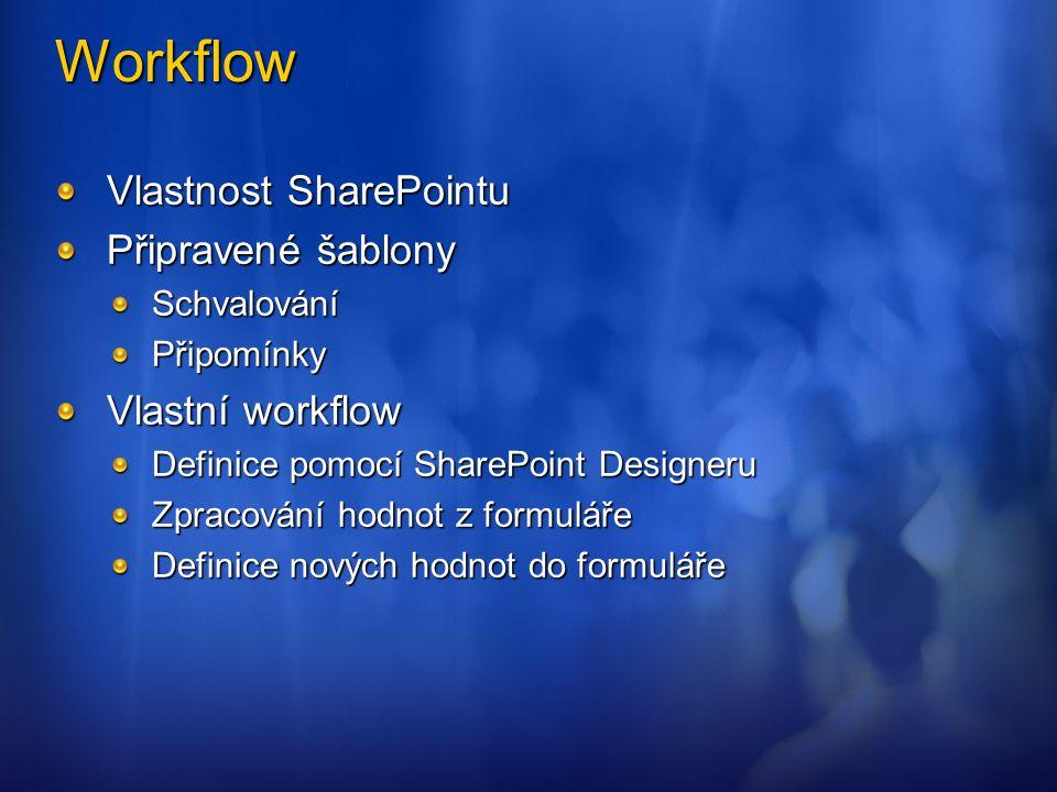 Workflow Vlastnost SharePointu Připravené šablony Vlastní workflow