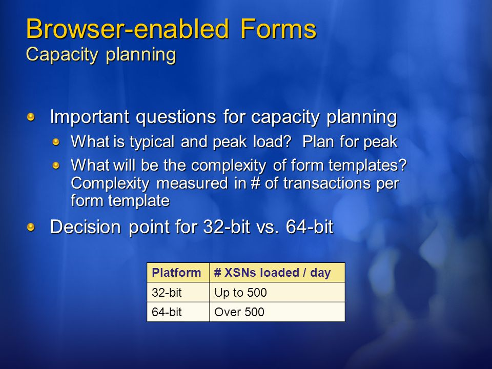 Browser-enabled Forms Capacity planning