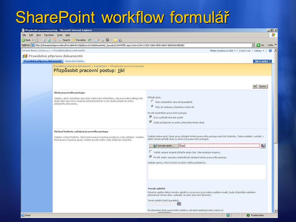 SharePoint workflow formulář