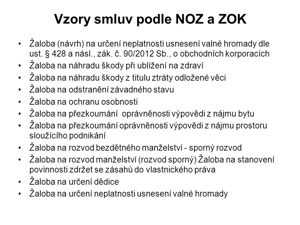 Vzory smluv podle NOZ a ZOK
