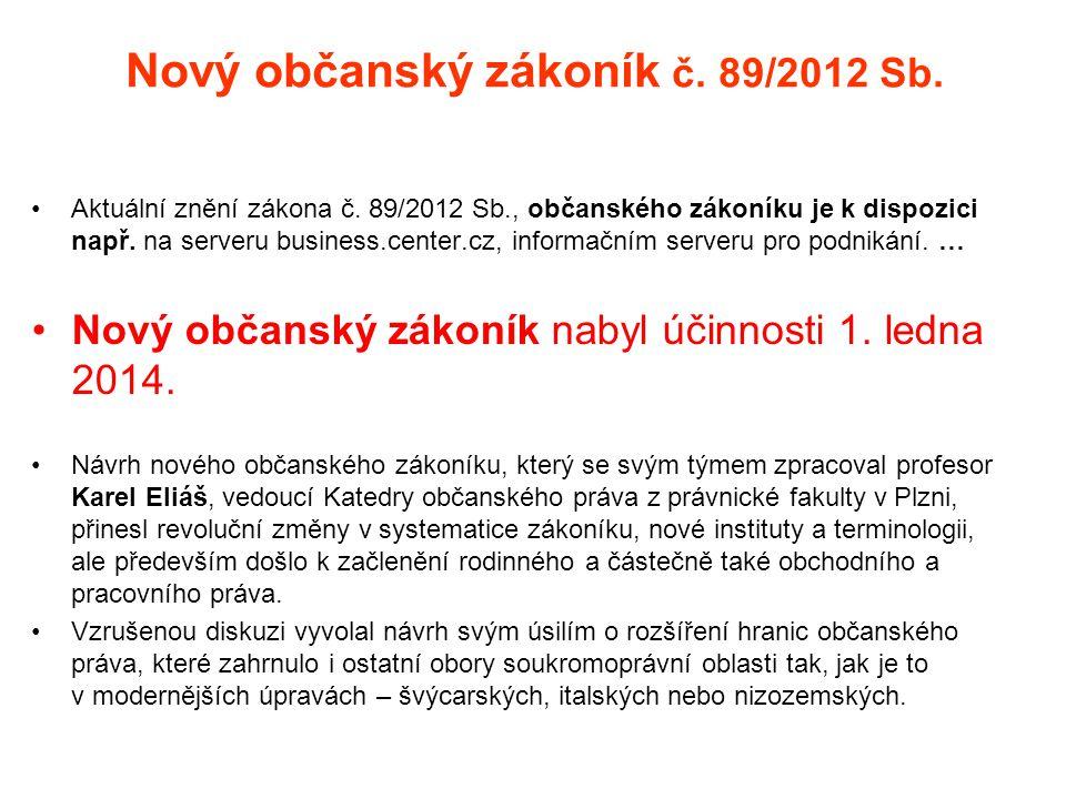 Nový občanský zákoník č. 89/2012 Sb.