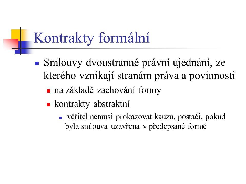 Kontrakty formální Smlouvy dvoustranné právní ujednání, ze kterého vznikají stranám práva a povinnosti.