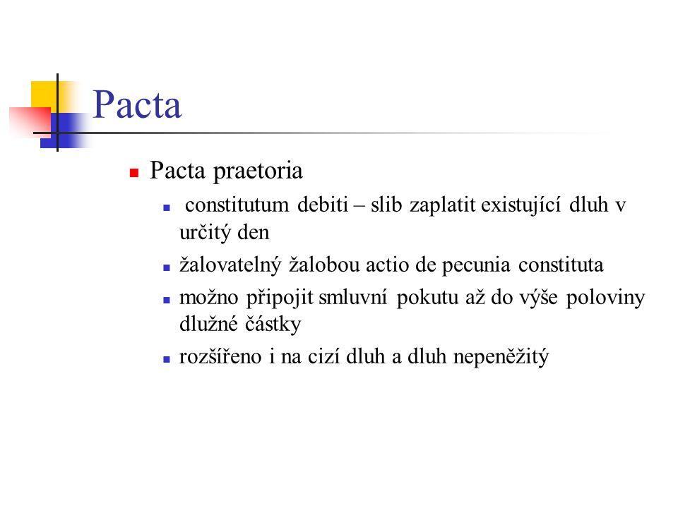 Pacta Pacta praetoria. constitutum debiti – slib zaplatit existující dluh v určitý den. žalovatelný žalobou actio de pecunia constituta.