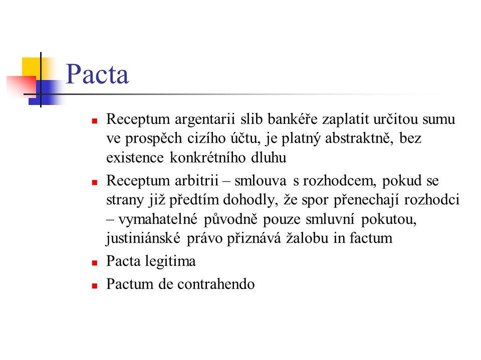 Pacta Receptum argentarii slib bankéře zaplatit určitou sumu ve prospěch cizího účtu, je platný abstraktně, bez existence konkrétního dluhu.