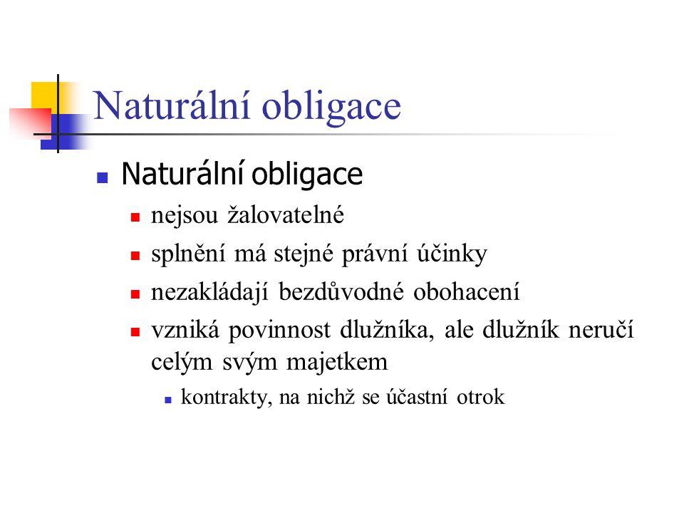 Naturální obligace Naturální obligace nejsou žalovatelné