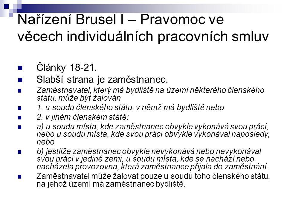 Nařízení Brusel I – Pravomoc ve věcech individuálních pracovních smluv