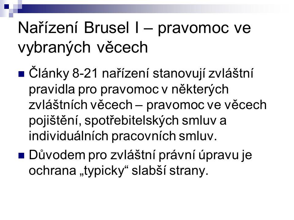 Nařízení Brusel I – pravomoc ve vybraných věcech