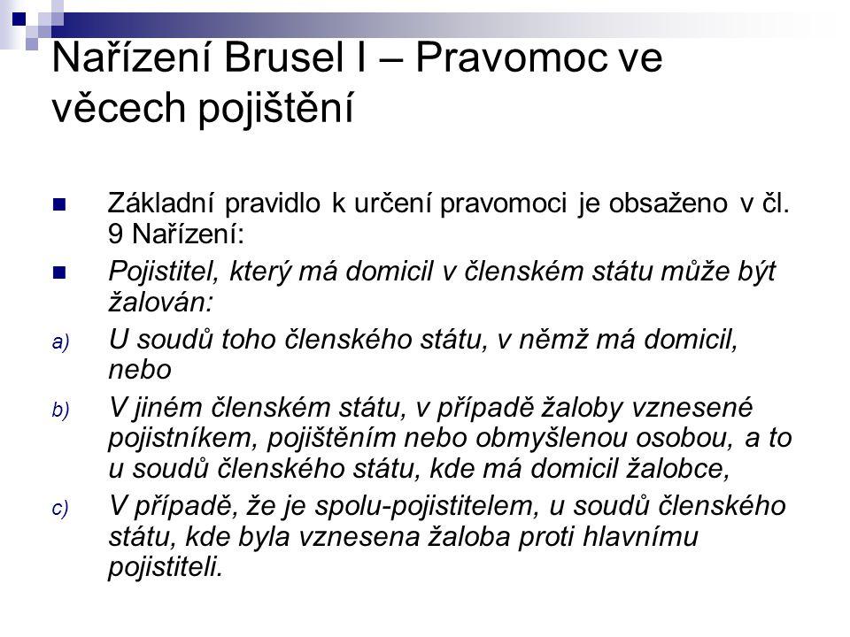 Nařízení Brusel I – Pravomoc ve věcech pojištění