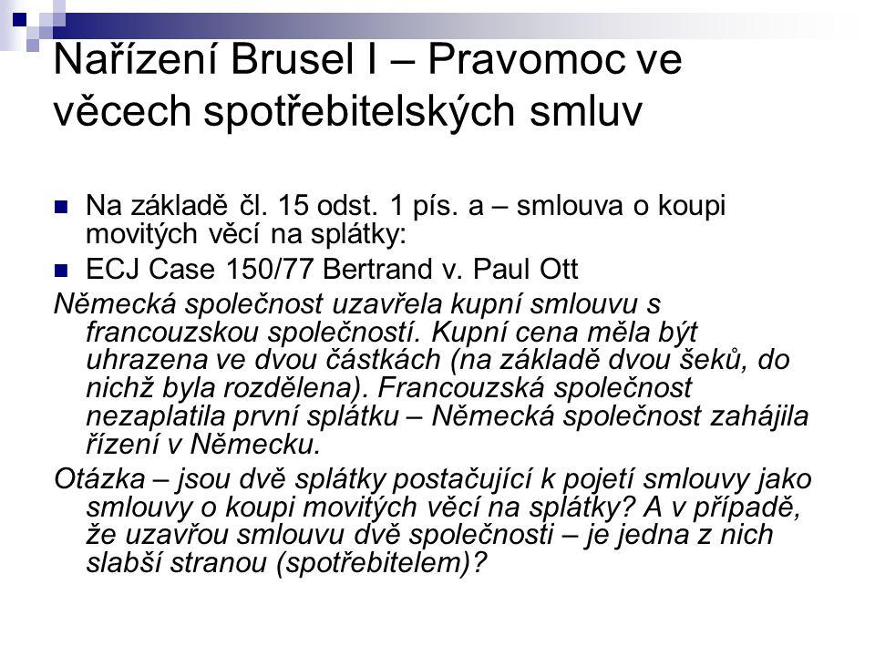 Nařízení Brusel I – Pravomoc ve věcech spotřebitelských smluv