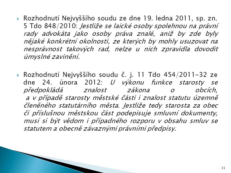 Rozhodnutí Nejvyššího soudu ze dne 19. ledna 2011, sp. zn