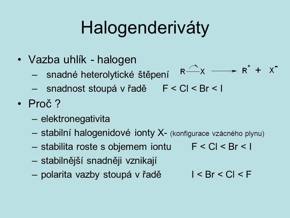 Halogenderiváty Vazba uhlík - halogen Proč