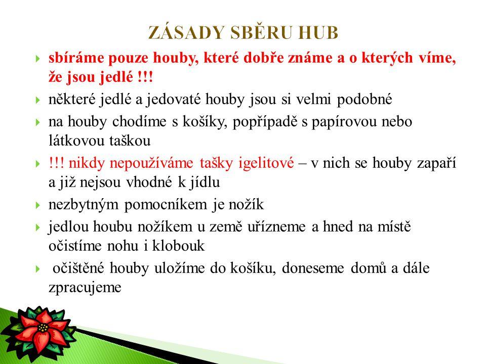 ZÁSADY SBĚRU HUB sbíráme pouze houby, které dobře známe a o kterých víme, že jsou jedlé !!! některé jedlé a jedovaté houby jsou si velmi podobné.