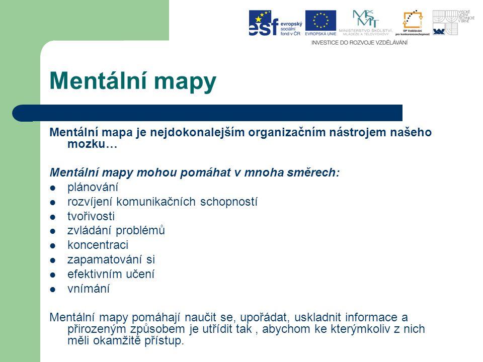 Mentální mapy Mentální mapa je nejdokonalejším organizačním nástrojem našeho mozku… Mentální mapy mohou pomáhat v mnoha směrech: