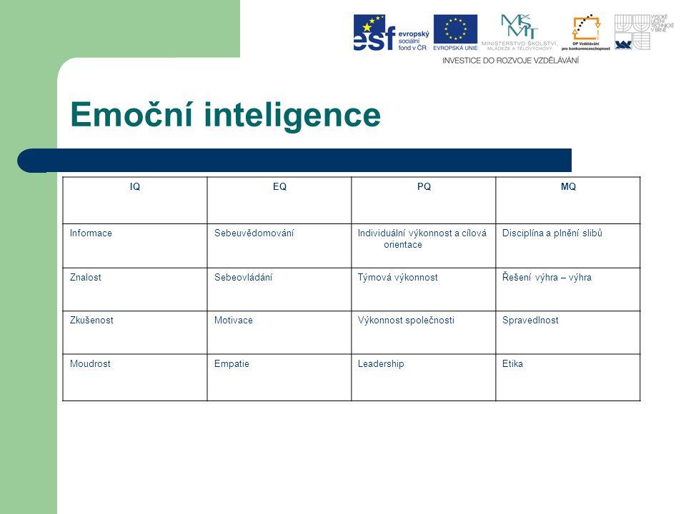 Emoční inteligence IQ EQ PQ MQ Informace Sebeuvědomování