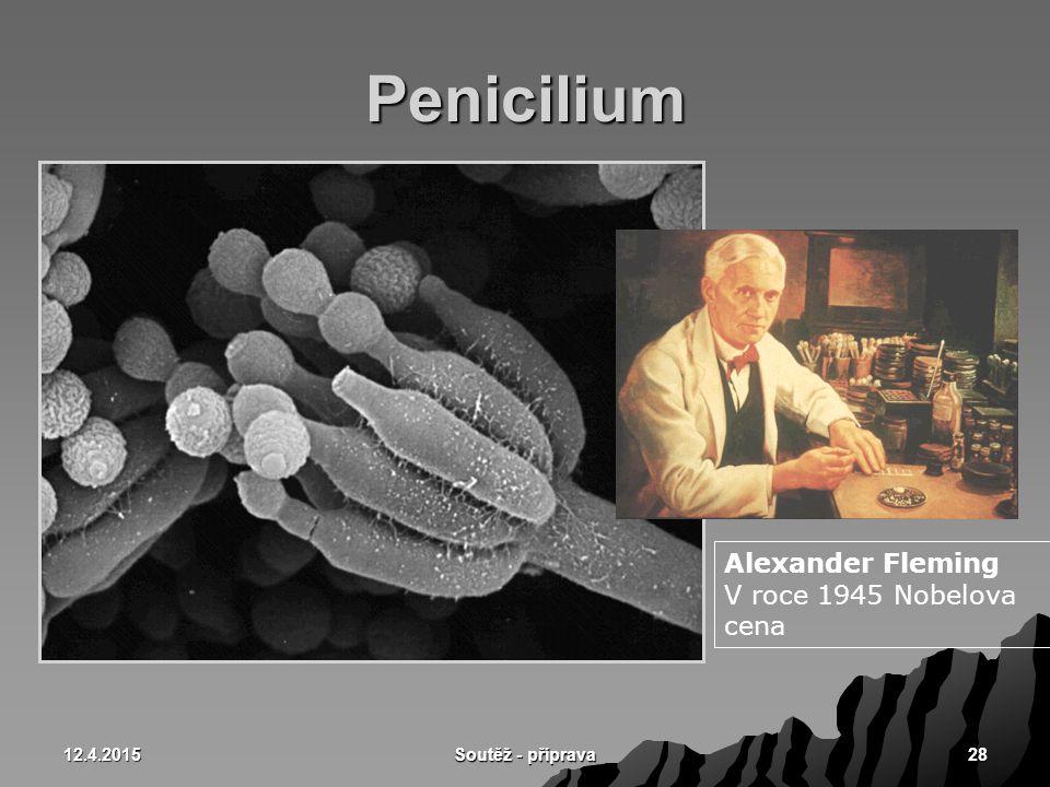 Penicilium Alexander Fleming V roce 1945 Nobelova cena 10.4.2017