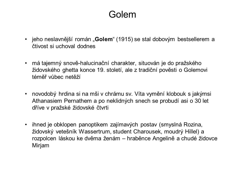 """Golem jeho neslavnější román """"Golem (1915) se stal dobovým bestsellerem a čtivost si uchoval dodnes."""